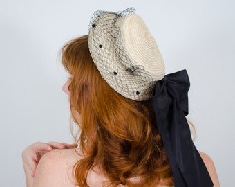 1940s vintage hat / straw hat / New York Creations