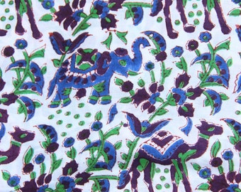 """Elephants & Camels Hand Block Print 100% Cotton Fabric, Blue, Purple 1 yard x 45"""", Traditional Border Printed, Fashion Supply, Sewing Supply"""
