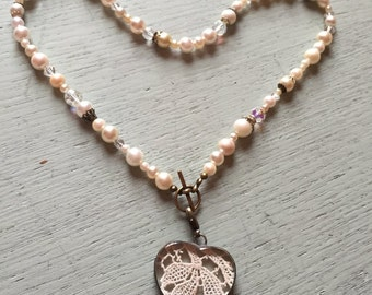 18 Inch Handcrafted Beaded Necklace of Vintage Pearls and Crystals and Antique Lace Heart Pendant