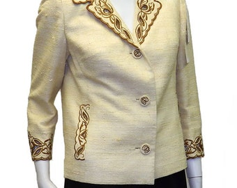 Vintage 1960s Raw Silk Shantung Suit Jacket Size 8