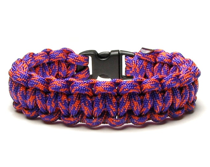 Paracord Bracelet Suns Purple Orange Military Survival Accessory 550 Parachute Cord Veteran Holiday Gift Men Women Outdoor Sports Hunting