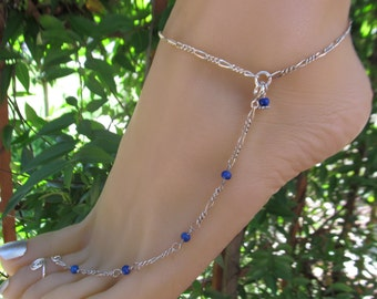 Sterling Silver Beach Shoeless Sandal Adjustable Anklet, Barefoot Jewelry & Toe Ring, Anklet comes in Turquoise or Lapis Stones