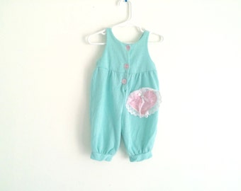 1980s baby girls swiss dot / polka dot jumper romper playsuit with embroidered lace trim heart KAWAII / HIPSTER