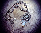 White Pentacle Necklace, iridescent glass beads, white witch, wiccan jewelry, pagan necklace, wicca, pentagram pendant, fantasy, occult