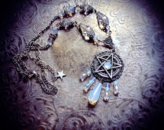 White Pentacle Necklace, pentagram necklace, wiccan necklace, white witch, wiccan jewelry, pagan jewelry, wicca, pentagram pendant, witch