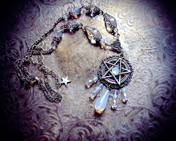 White pentacle necklace pentagram necklace wiccan necklace like this item aloadofball Choice Image