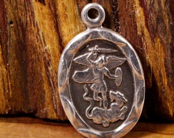 Saint George Vintage Silver Religious Medal with Angel Pendant on 18 inch sterling silver rolo chain