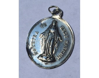 "Vintage Children of Holy Mary Religious Nun's Medal on 18"" sterling silver rolo chain"