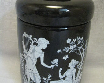 Ceramic Candy Cookie Vanity Jar Black Grecian Figurines Lovers Decor 1987
