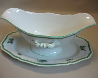 Gravy Bowl Attach Under Plate Rosenthal  Chippendale Green Bloom Germany 1950