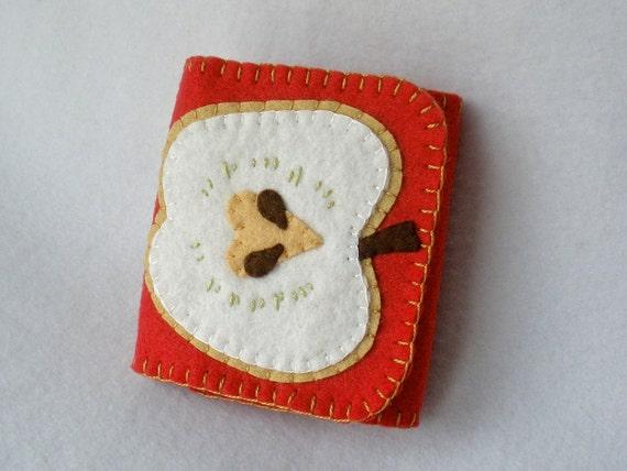 Felt Needle Book Red Apple Case Apple Slice Needle Case