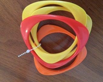 Vintage Boho Mod Plastic Bangles Orange Yellow Go Go 1960s