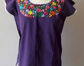 """Mexican embroidered purple huipil blouse cotton floral Oaxaca - Frida Kahlo - resort cover-up  21"""" x 26""""  Med"""