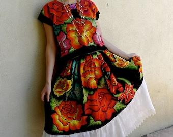 Collectors Mexican embroidered Tehuana traje costume black velvet large orange red flowers Frida Kahlo  med/large - short