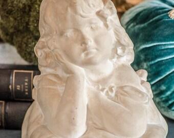 Vintage Plaster Girl Bust Statue