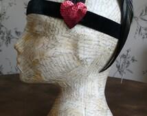 RED heart sequin Headband. 1920's Great Gatsby themed Wedding