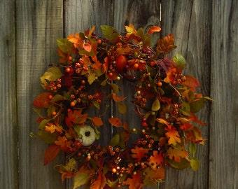 Fall Wreath -Primitive Wreath - Wreath For The Door - Pip Berries - Pumpkin Wreath - Wild Pumpkn Patch