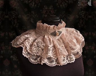 Collar, Victorian, cottage chic, art nouveau, blush, Romantic choker, Maeror, Somnia Romantica, size large see item details for measurements