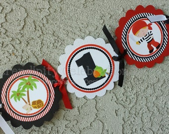High Chair Banner -Boy Pirate -Photo Prop -High Chair Bunting -1st Birthday -Small Banner -Pirate Banner -I am 1 -Red and Black -Pirates