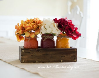 Rustic Planter Box with 3 Painted Mason Jars. Mothers Day. Rustic Home Decor. Barn Wedding. Rustic wedding. Burnt Orange. Table Centerpiece.