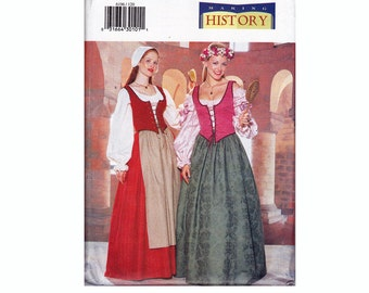 Historical Costume Making History medieval Peasant Corset vest flared skirt blouse bonnet apron Sizes 12 14 16 Bust 34 36 38 Butterick 6196