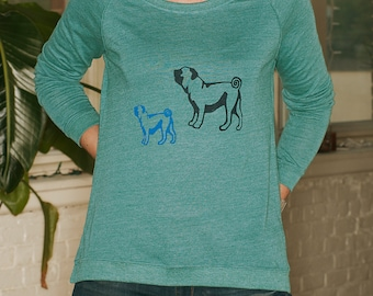 me and mama Pug Shirt, Comfy Pullover, Gift for a Dog Lover, S,M,L,XL