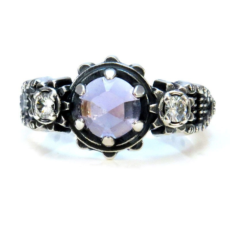 amethyst and moissanite steunk engagement gear ring