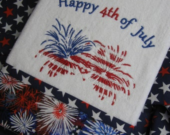 """Handmade embroidered """"Happy 4th of July """" Hand Towel"""