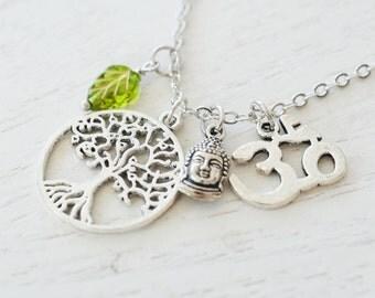 Silver tree of life necklace, hamsa hand, zen yoga jewelry, namaste, buddha, om necklace, christmas gift, long chain, protection, spiritual