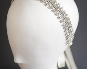 Crystal Wedding Headband, Leaf Vine Cluster Bridal Headband, Art Deco Bridal Headpiece, Vintage Style Hairpiece, Hair Jewelry, JOCASTA