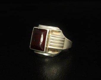 Ostby Barton Mens Art Deco Ring Sterling Silver Ruby Red Center Size 10.5