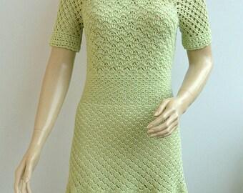 Green Crochet dress, made to order, crochet handmade, elegant dress, spring dress, wedding dress, bridesmaind dress, mother of the bride