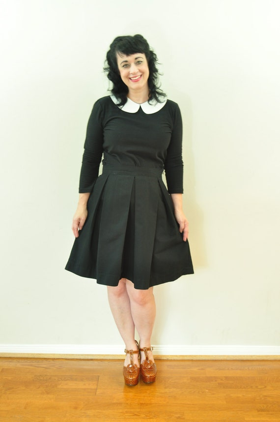 Black Twill Hartley Skirt with full, pleated skirt very classic retro and vintage 50's and 60's custom made to order also in Plus Size