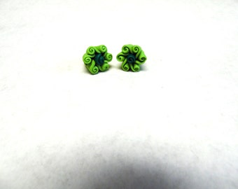 Green Flower Earrings Post