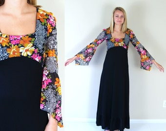 vtg 70s black HAWAIIAN tropical print MAXI DRESS Small angel sleeve empire bold colorful pink orange