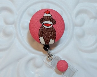 Retractable Badge Holder - Id Reel - Fabric Covered Button - Sock Monkey