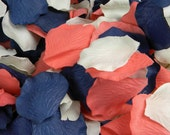 Coral Blue and Ivory Rose Petals   200 Artificial Petals   Coral & Navy Wedding   Blueberry Coral   Flower Girl Petals - Table Scatter