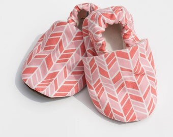 Baby Girl Shoes. Offset Chevron Pink and Coral 0 3 6 12 18 months Shoes / Booties Eco Friendly Organic Cotton