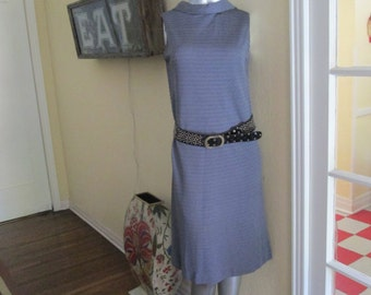 Vintage Gray Dress With Mock Cowl Neck / Mod Dress MedIum Large / Classy Dress 60s