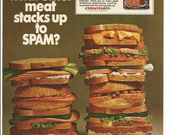 1974 Advertisement Spam  Canned Meat Hormel Sandwiches Stacked Up 70s Kitchen Diner Cafe Coffee Shop Wall Art Decor