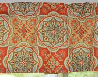 Kitchen Curtain. Kitchen Valance . Waverly Tapestry Tile - Clay . FULLY Lined . Fabric Made In Peru . Handmade by Seams Original