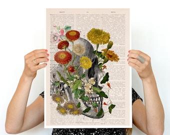 Flowers on skull detail Poster, anatomical art, Skull anatomy art, Flowers anatomy poster PSK094
