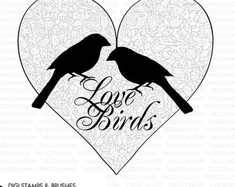 Love Birds - VALENTINE Heart - Digital Stamp and Brush - INSTANT DOWNLOAD - Cards, Scrapbooking, Collage, Invites, Crafts
