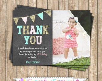 One First Birthday girl coral pink  mint gold PRINTABLE chalkboard Thank You Card  #10  chevron polka dot glitter 1st birthday - 1031