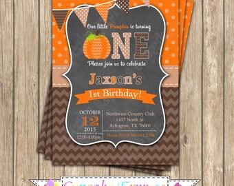 Pumpkin Patch One First Birthday Boy orange brown tan   PRINTABLE Invitation #4 chevron polka dot  1st birthday halloween fall