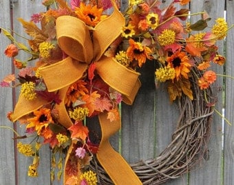 Fall Wreath, Sunflower Fall Wreath, Fall Wreath in Gold, Yellow, Burgundy, Fall Burlap Wreath