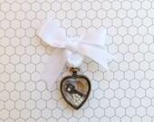 Bouquet Charm, Wedding Keepsake, Bridal Accessory, Key Bouquet Charm, Ornate Heart Charm, Key to My Heart, Antique Brass, Key and Heart