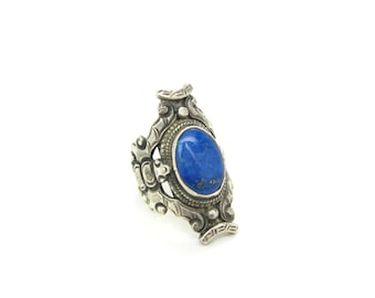 Nepal Ring. Sterling Silver. Lapis Lazuli Gemstone Jewelry.  Ethnic Ring. Tribal Statement. Vintage Handmade Jewelry. Size 7.5