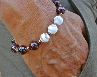 Bohemian Love, Commitment, Protection Bracelet with Semi Precious Chunky White Tibetan Agates, Red Garnet, Hematites in Bronze and Silver
