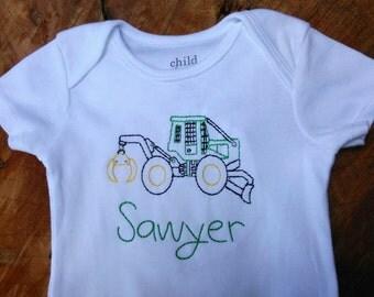 Skidder shirt- logging shirt, logger, boys, John Deere birthday, tractor birthday, little boy shirt